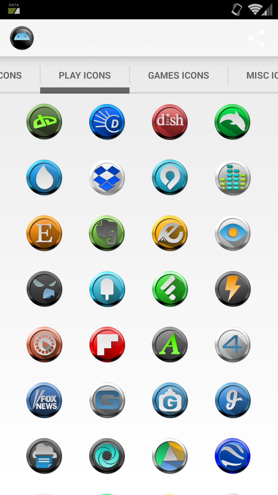 Hello homescreen (Action Launcher) featuring the included FireChili icons and wallpaper.
